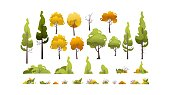 Set of trees vector background