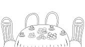 Coloring book for children. Tea break. Table with treats: tea in cups and saucers, apples, muffins, pretzels. Vector line illustration