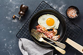 Traditional English breakfast with fried eggs and bacon in cast iron pan on dark concrete background. Top view.