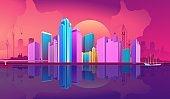 City night banner horizontal concept