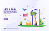 Illustration of Digital marketing and advertising with megaphone and email icons