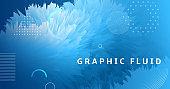 3d Wave Shapes. Flow Design. Blue Vibrant