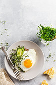 Traditional English breakfast with fried eggs with arugula microgreen in gray ceramic plate on gray concrete old background. Top view.