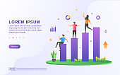 Vector Illustration of Business Growth concept. A team is very happy when the business they manage is able to develop properly.