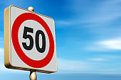 Road Sign Speed Limit 50 Kmh on Blue sky with Clouds - Photography