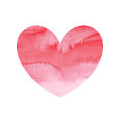 red heart watercolor isolated on white background. love symbol. for design card, poster sticker, icon