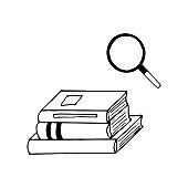 magnifier and stack of books hand drawn in doodle style. vector, scandinavian, monochrome. concept for design sticker, icon, card, banner, poster. school, study, science, search