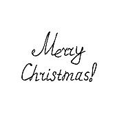 lettering merry christmas hand drawn in doodle style. vector, scandinavian, monochrome. single element for design sticker, card, poster. holiday, congratulations
