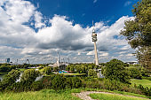 Olympiapark - Panoramic view of the Olympic Park in Munich Germany