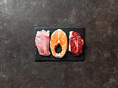 Raw turkey breast fillet, salmon and ribeye