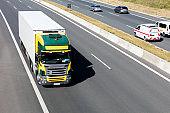 Heavy Goods Transportation in Germany, Truck Speeding, Aerial View