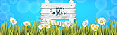 Happy Easter holiday banner or newsletter header. Spring flowers. Vector illustration with lettering.