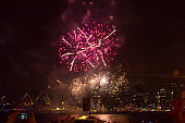 Sydney's Harbor Bridge at 2020's Annual New Year's Eve Fireworks Welcome Show