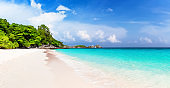 Panorama of travel summer holiday background concept.