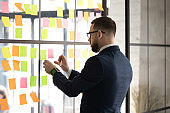 Businessman prepare boardroom for negotiations attaching post-it on wall