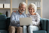 Happy older spouses sitting on sofa, looking at computer screen.