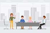 Business coworkers meeting at office, talking, discussing, sitting at table, hand writing, typing vector illustration. Busy men and women at workplace cartoon character design on cityscape background