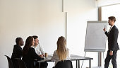 Group meeting led by business trainer in modern office boardroom
