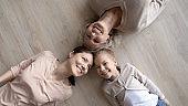 Top view portrait of happy three generations of women