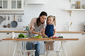 Mom and daughter cooking in kitchen at home together