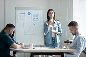 Stressed young businesswoman employee making flip chart presentation in boardroom