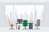 Design of modern empty office working place front view vector illustration. Flat style table, desk, chair, computer, desktop, plant, lamp, cactus isolated on cityscape background