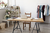 Empty modern design home workplace with gadgets