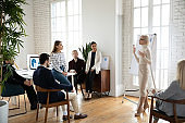 Confident female trainer lead meeting with colleagues