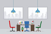 Design of modern empty office working place front view vector illustration. Flat style table, desk, blue chair, computer, desktop, plant, lamp isolated on cityscape background