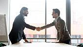 Smiling male partners handshake greeting at meeting