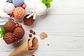 Berry, vanilla and chocolate ice cream sundae