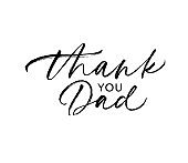 Thank you dad calligraphy greeting card. Modern vector brush calligraphy. Happy Father's Day poster, typography design.