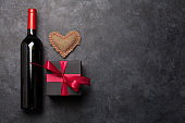 Valentines day card with wine and gift box