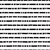 Short horizontal lines hand drawn seamless pattern. Black and white simple vector dotted lines background.