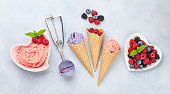 Berry and vanilla ice cream