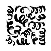 Swirls and curls vector elements collection. Grunge black paint brush strokes. Curly hair imitation.