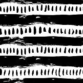 Short vertical lines with bold stripes seamless pattern. Hand drawn black and white simple vector pattern.