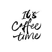 It's coffee time modern brush vector calligraphy. Handwritten black ink lettering isolated on white background.