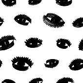 Eyes with eyelashes grunge vector seamless pattern. Hand drawn ink illustration.