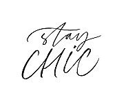 Stay chic ink pen vector lettering. Stylish lifestyle motivational slogan, trendy quote handwritten calligraphy.