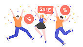 Happy people are jumping. Discounts and sales. Favorable shopping. Advertising promo. Vector flat illustration.