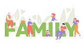 People around the big text Family. Grandfather, grandmother, mom, dad, daughter, son and cat together. Vector flat illustration with characters.