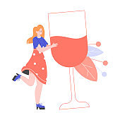 Girl with a giant glass of wine. Alcohol and addiction. Happy hours at the bar. Vector flat illustration.