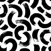 Semi circles brushstrokes vector seamless pattern. Half round lines grunge texture.