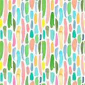 Vertical drops and lines abstract watercolor seamless pattern. Hand drawn watercolor brush strokes.