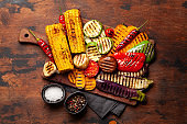Grilled vegetables with spices and herbs