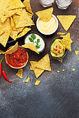 Mexican nachos chips and sauces