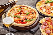 Various tasty homemade pizza