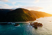 Aerial view of west coast at sunset, south island, New Zealand.