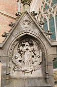 beautiful sculpture at church of our lady bruges Sculpture of Virgin Mary in front of Onze-Lieve-Vrouwekerk (english: Church of Our Lady)